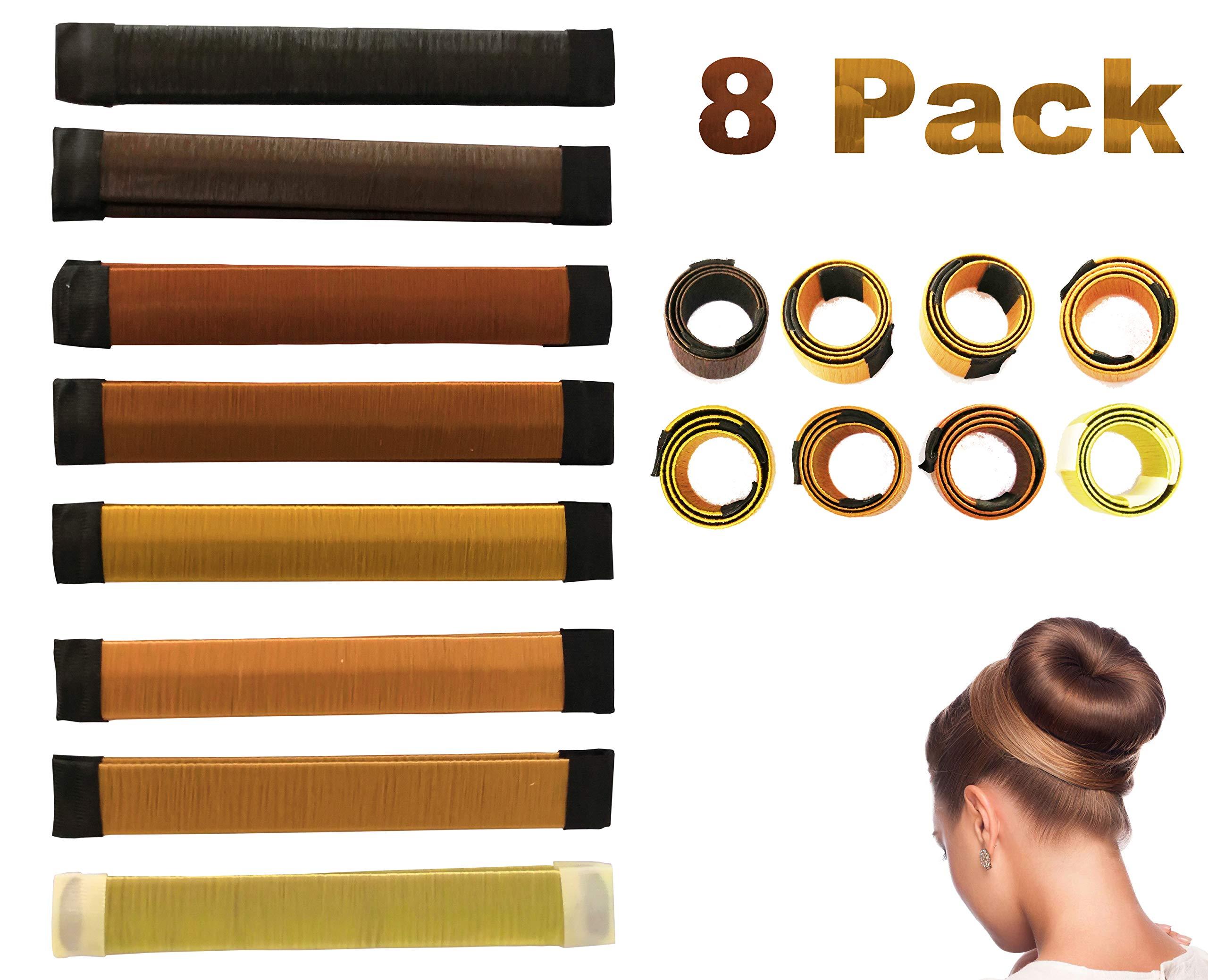 Antallcky Hair Bun Maker-8 pcs French Twist Hair Fold Wrap Snap Magic Bun Shaper Donut Hair Styling DIY Curler Roller Hairstyle Tool Doughnuts Hair Accessories