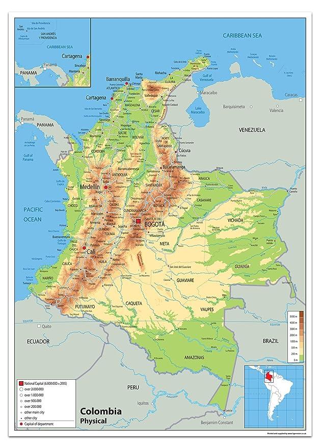 Colombia Física mapa - Papel laminado [ga] A1 Size 59.4 x 84.1 cm: Amazon.es: Oficina y papelería