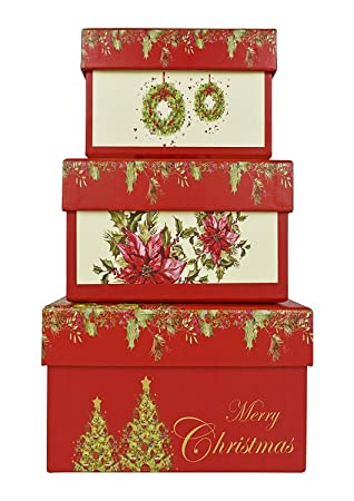alef elegant decorative holiday themed nesting gift boxes 11x 425x 11quot - Decorative Christmas Boxes