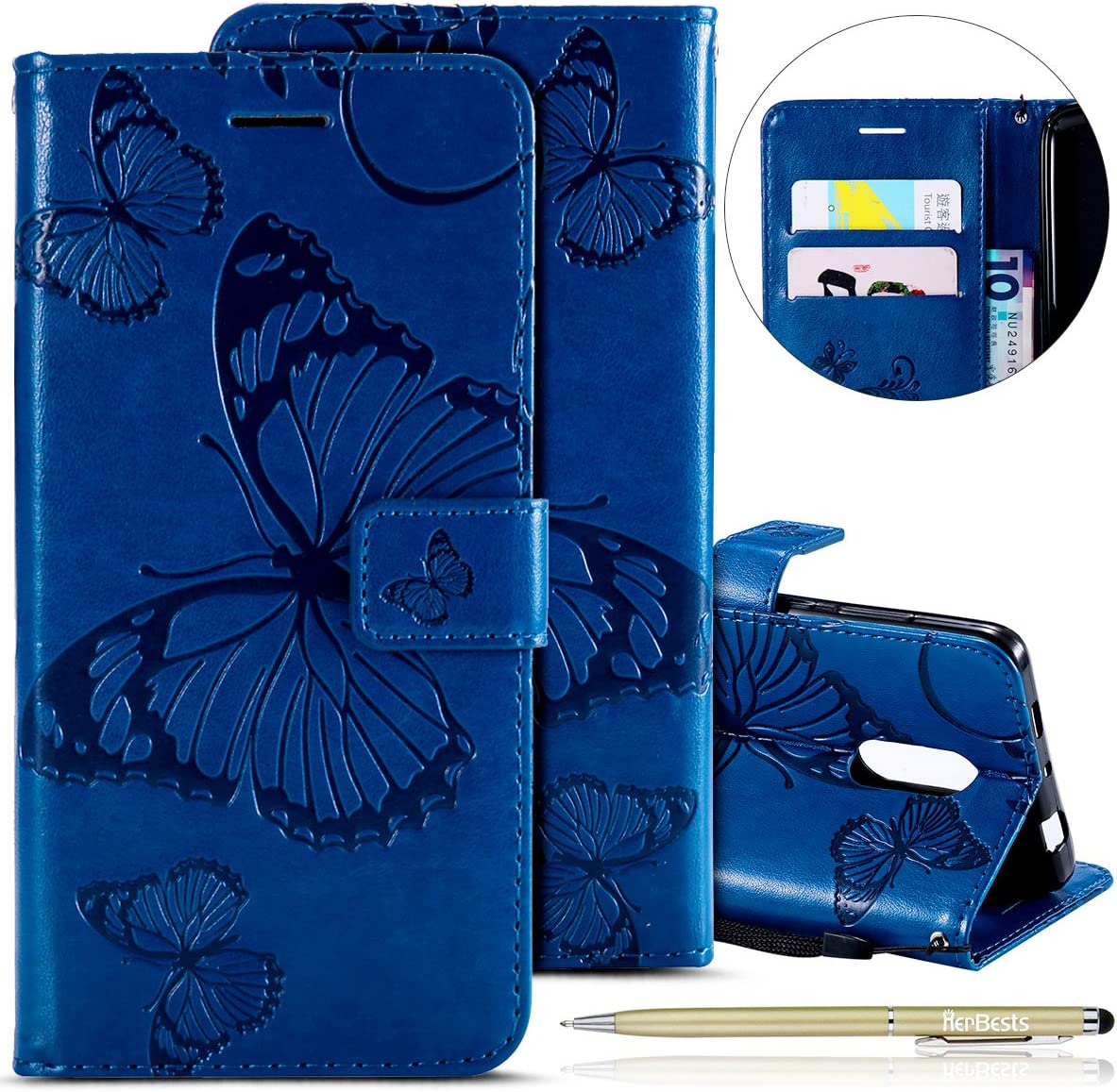Herbests Compatible with Xiaomi Redmi Note 4X Wallet case Butterfly Pattern Premium Eelegant Leather Stand Flip Full Body Protective Cases Cover Credit Card Slot Magnetic Closure,Purple