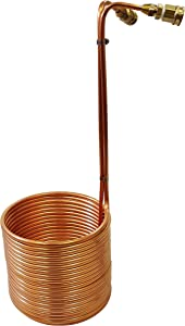 "NY Brew Supply Wort Chiller with Garden Hose Fittings, 3/8"" x 50', Copper"