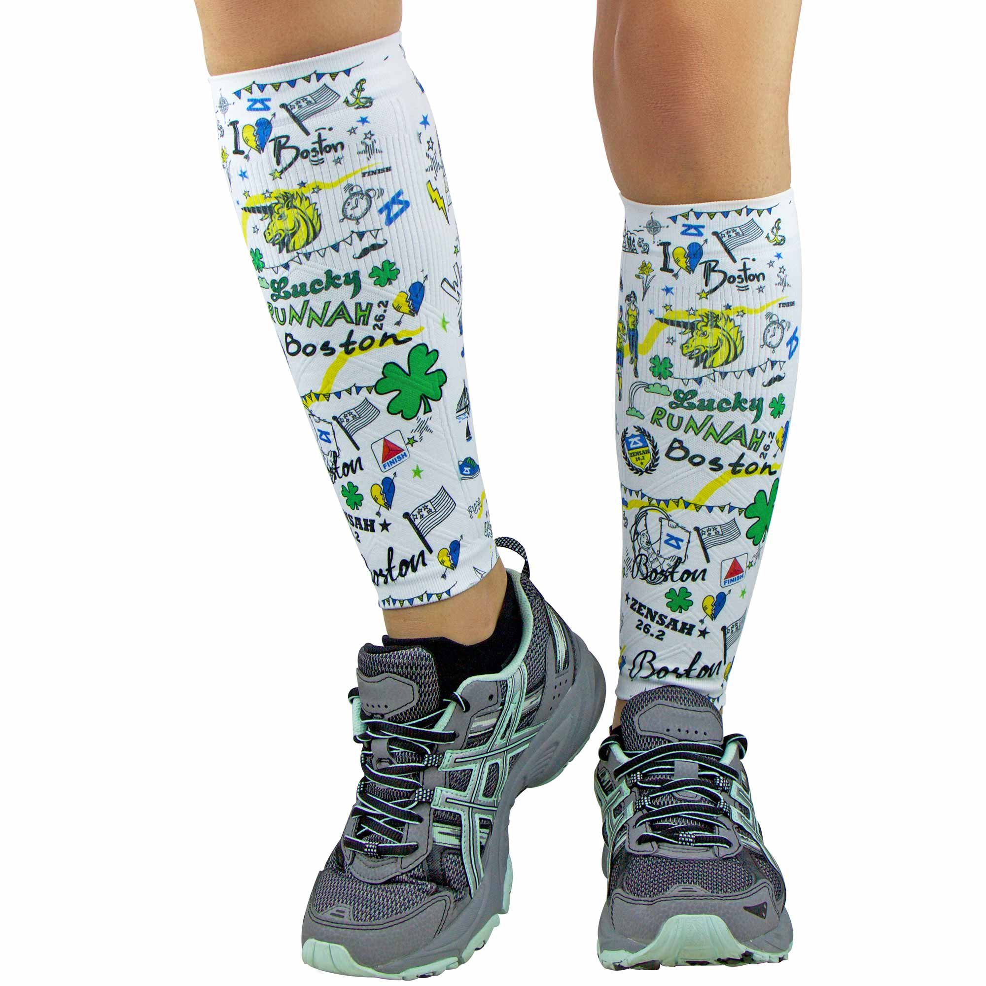 Zensah Compression Leg Sleeves, Boston Doodle - Marathon, X-Small/Small