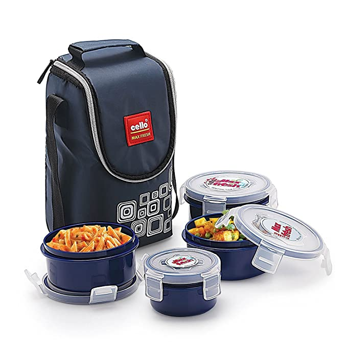 Cello Max Fresh Click Polypropylene Lunch Box, 4 Containers, Blue Lunch Boxes