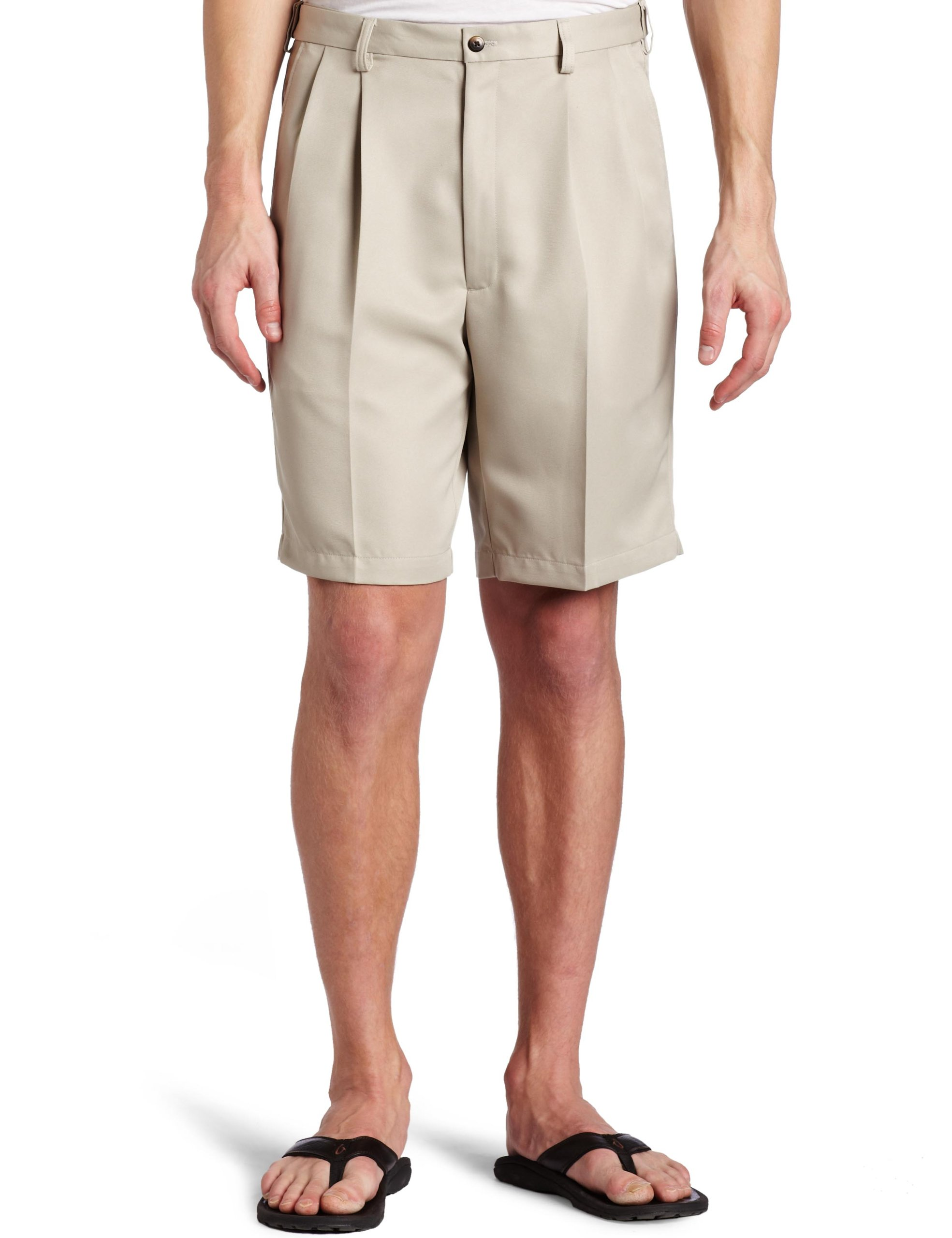 Haggar Men's Cool 18 Gabardine Hidden Expandable Waist Pleat Front Short,String,38