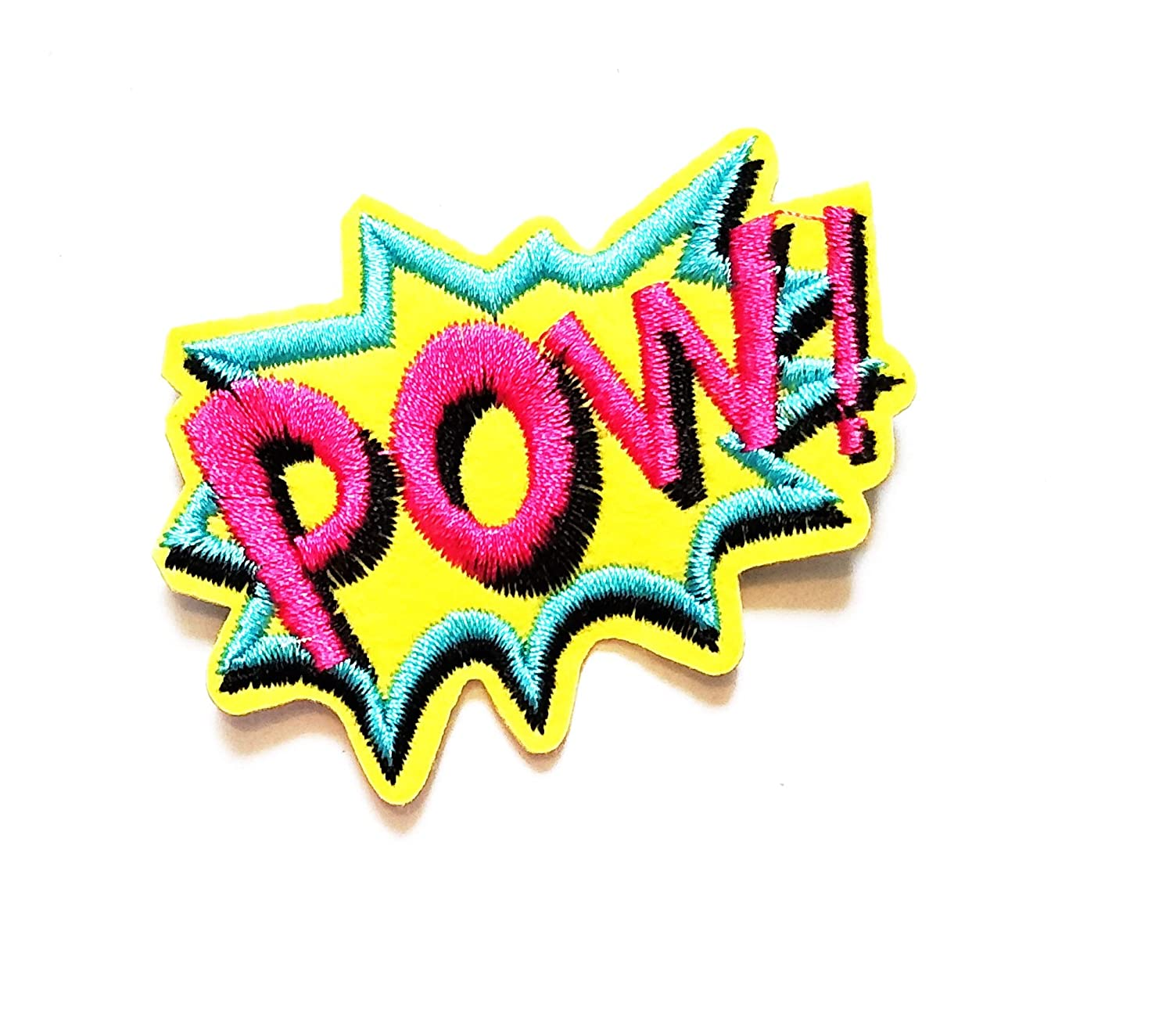 2.8'' X 2'' Yellow POW! Cartoon patch WOW! superhero comics retro fun Patch logo jacket t-shirt Jeans Polo Patch Iron on Embroidered Logo Sign Badge Comics Cartoon patch by Tour les jours shop