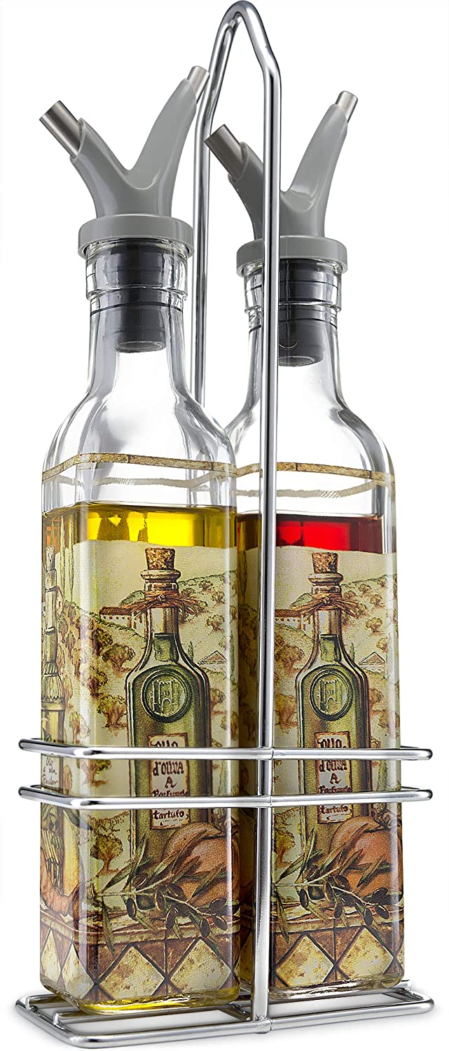 Gourmia GVD9990 Oil and Vinegar Dispenser Set - Elegant Square Design, Easy Flow Dual Drip-Free Spouts for Controlled Flow – Steel Wire Table and Counter Stand Holder