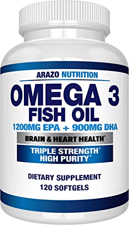 Omega 3 Fish Oil 4,080mg - High EPA 1200mg + DHA 900mg Triple Strength Burpless Softgels - Arazo Nutrition (120 Soft Gels)