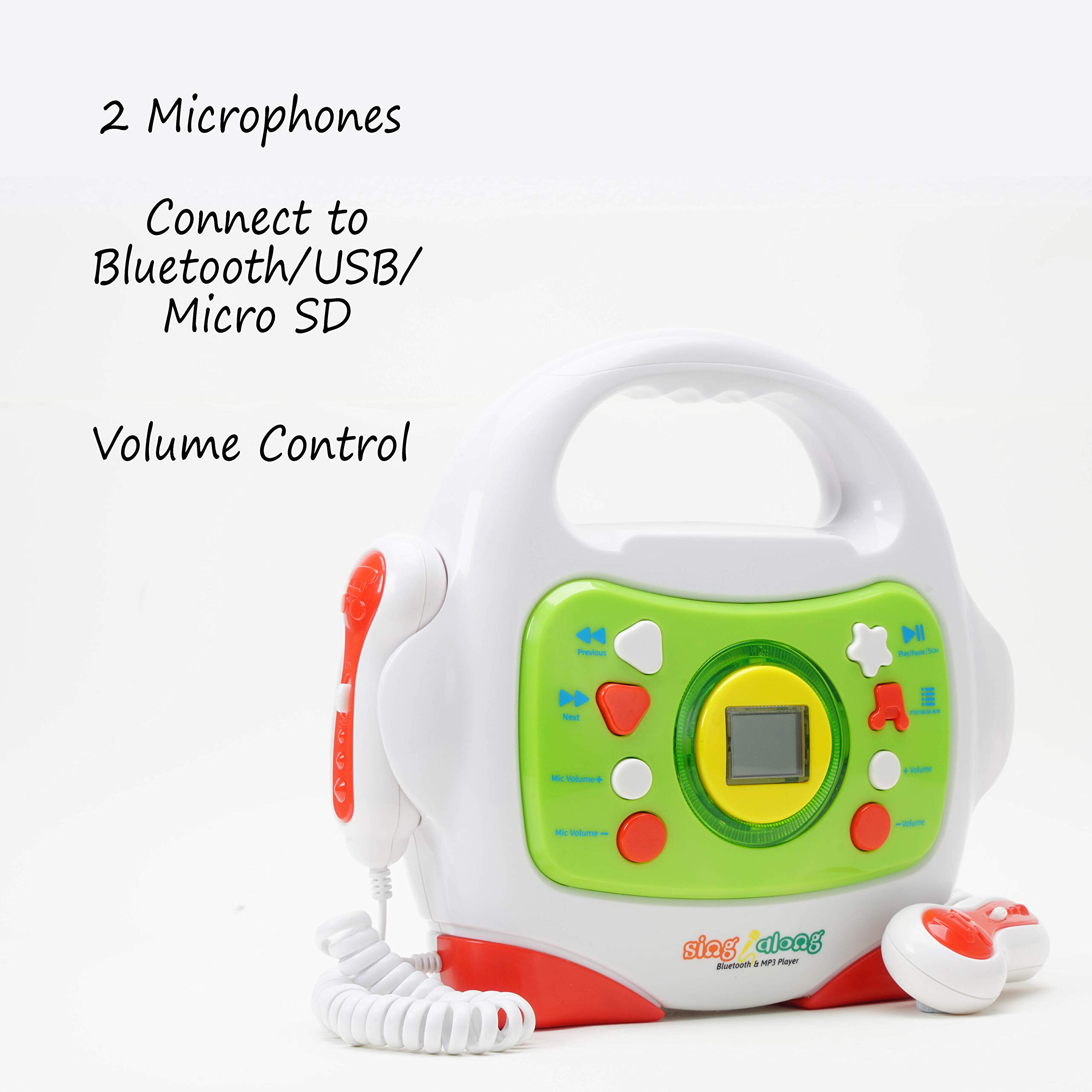 IQ Toys MP3 Karaoke Music Player, with 2 Sing Along Microphones. Stream Music by Bluetooth, MP3 or Micro SD by IQ Toys (Image #4)