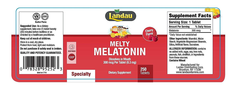 Amazon.com: Landau Melty Melatonin 300 mcg 250 Tablets: Health & Personal Care