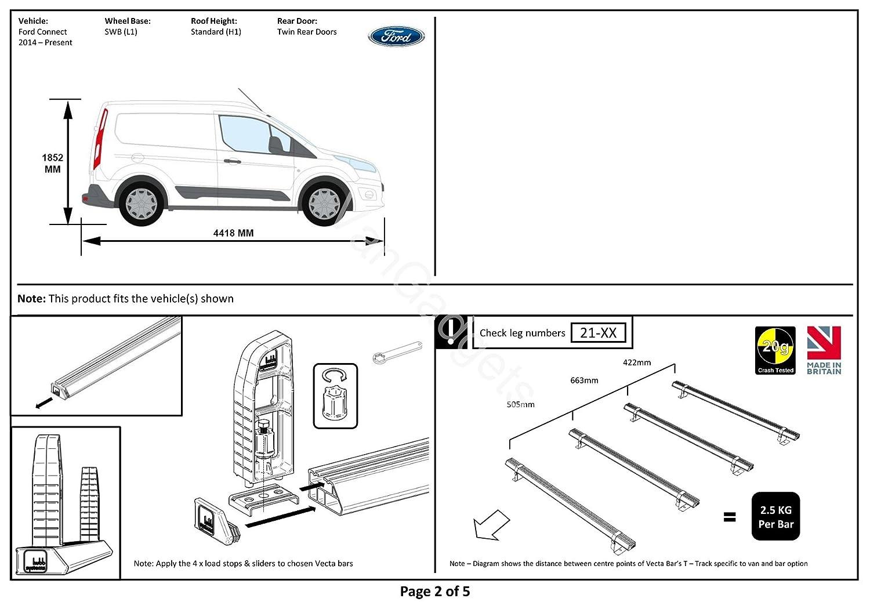 L1 Swb 2 X Vecta Van Roof Rack Bars Load Stops Ford Transit Nissan Primastar Wiring Diagram Free Download Connect 2014 2018 Car Motorbike