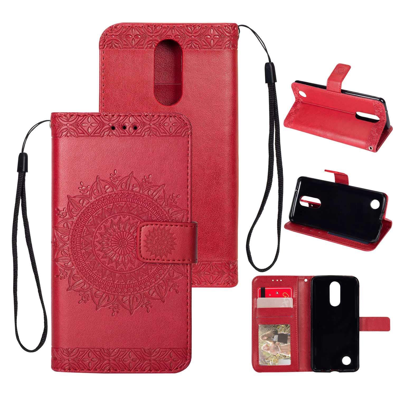 HCUI Compatible avec LG K8 2017 Coque Cuir Étui Wallet Housse, Portefeuille de Protection Coque avec Fonction Support Magnétique Pochette Antichoc Coque pour LG K8 2017 - rouge.