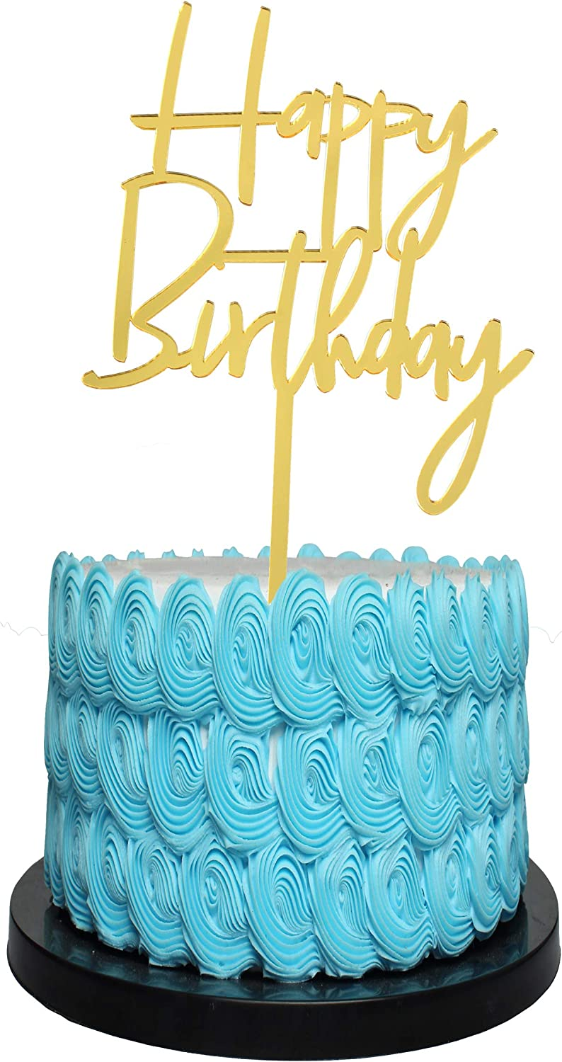 Happy Birthday Cake Topper gold with Acrylic Decoration