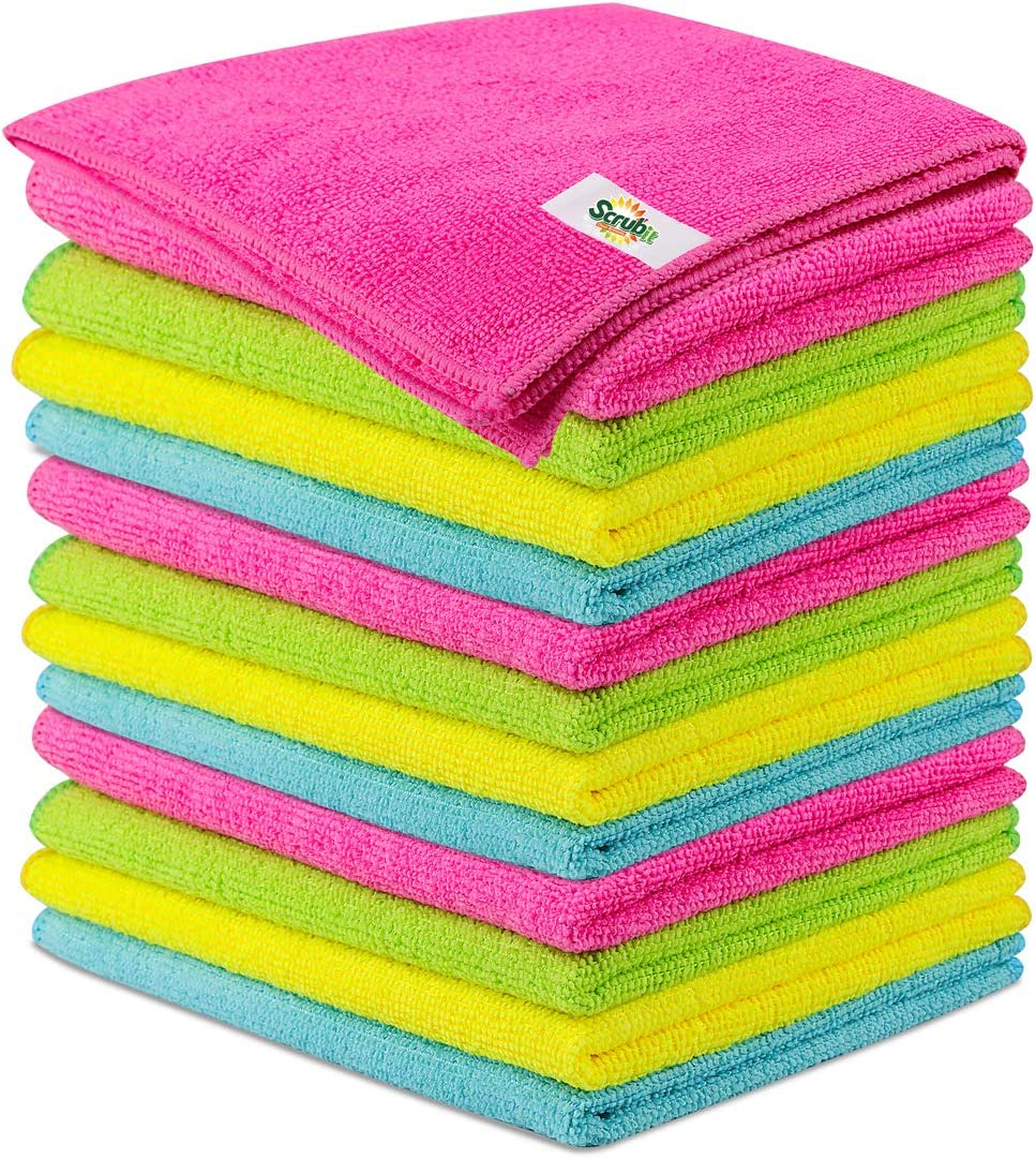 SCRUBIT Microfiber Cleaning Cloth Lint Free Anti-Bacterial Towels for House, Kitchen, Cars, Windows -Ultra Absorbent and Super Soft Wash Cloths (12 Pack)