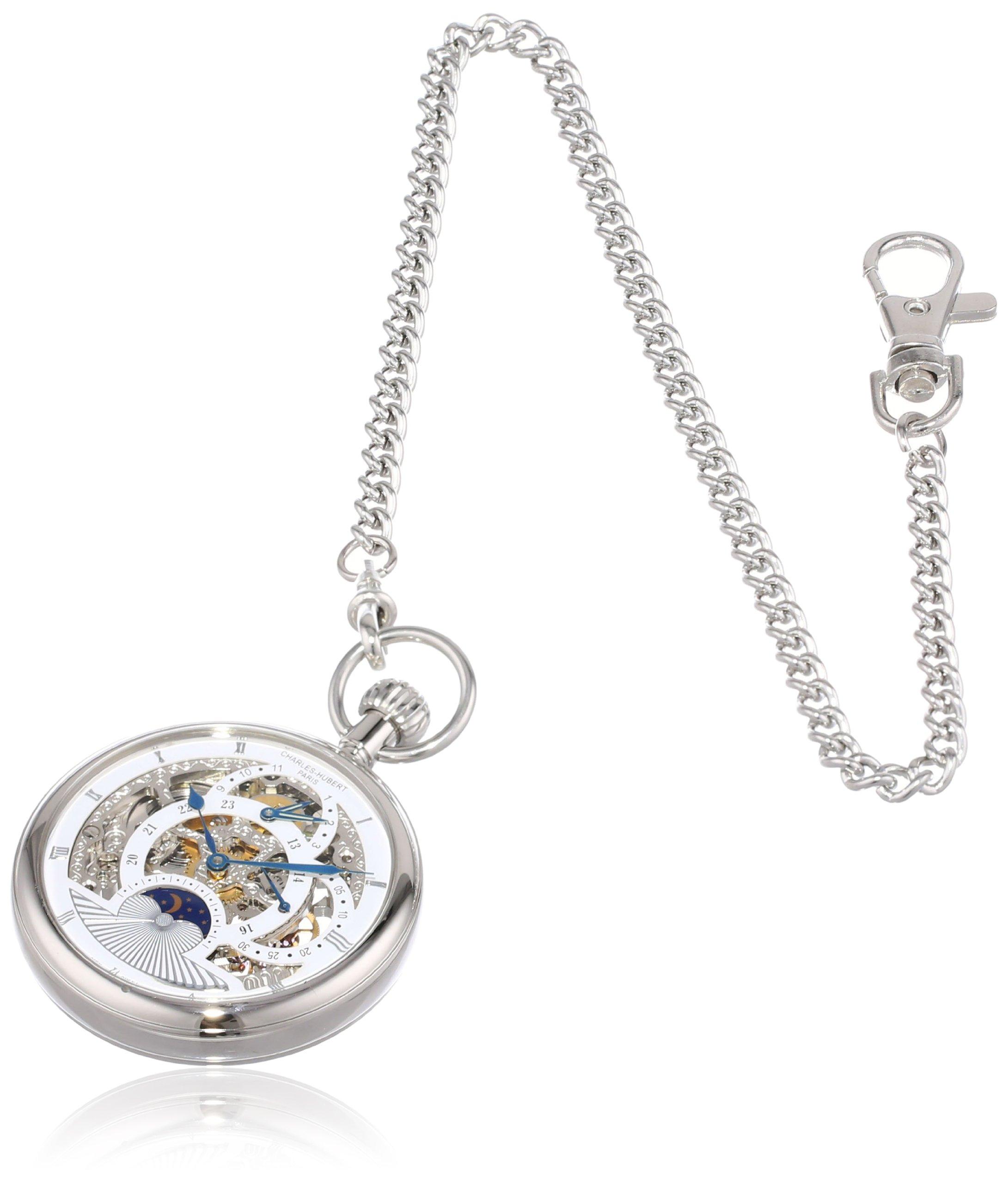 Charles Hubert 3816-W Dual Time Mechanical Pocket Watch