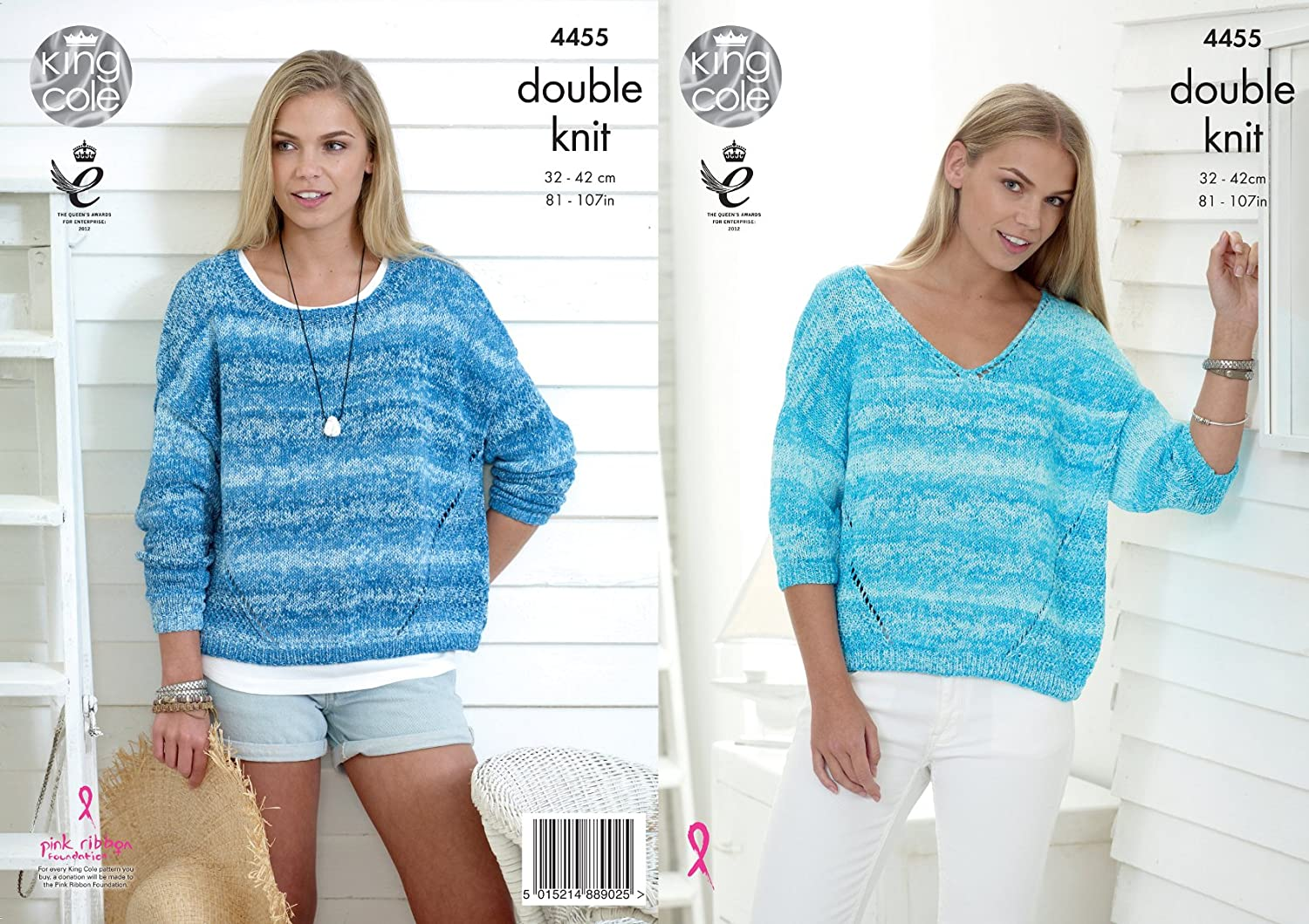 King Cole Ladies Double Knitting Pattern Womens Round or V Neck Baggy Sweaters Vogue DK (4455)