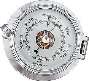 Justime 3.5 Inch Chrome Porthole Barometer, Nautical Wall Hanging Décor SBM-35-2-51C