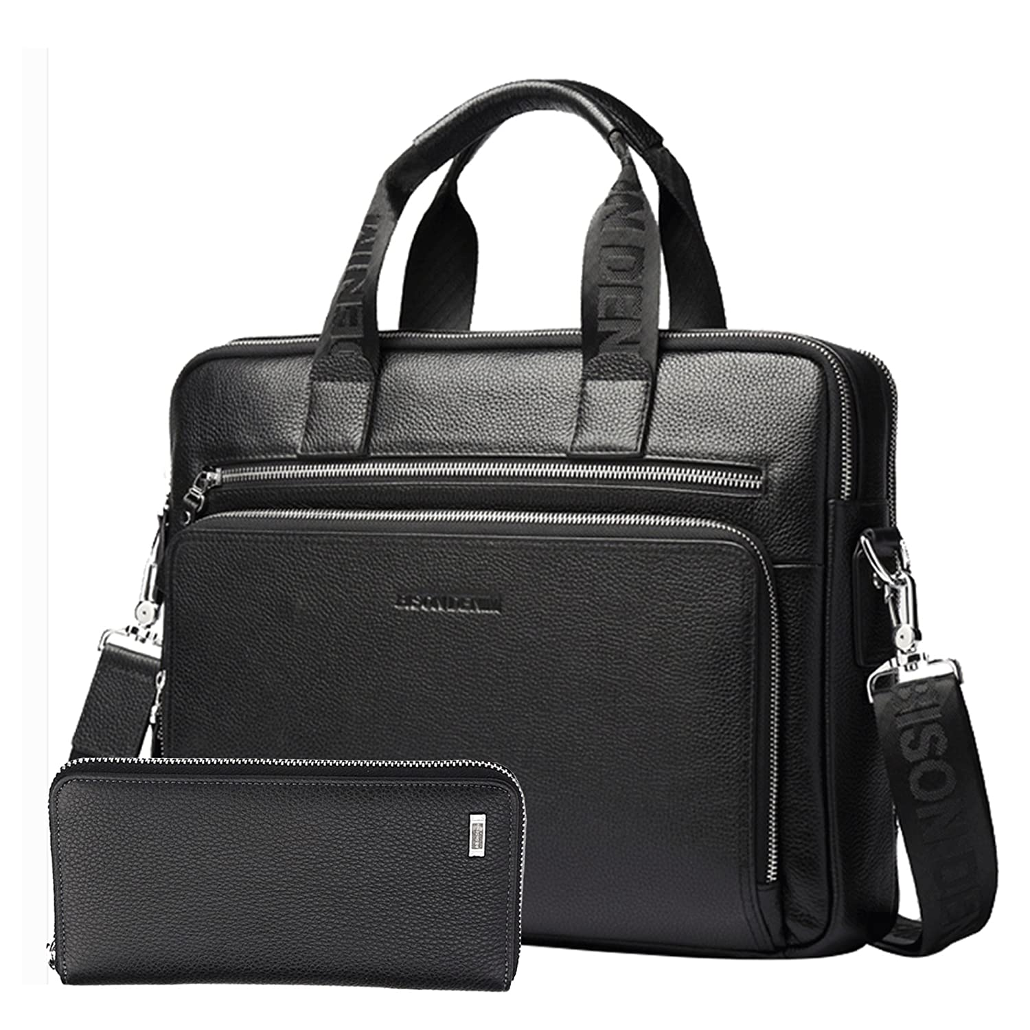 Bison Denim Mens Genuine Leather Briefcase Hand Bags Satchel (Black[2PCS]) N2333-3B+N8018-1B