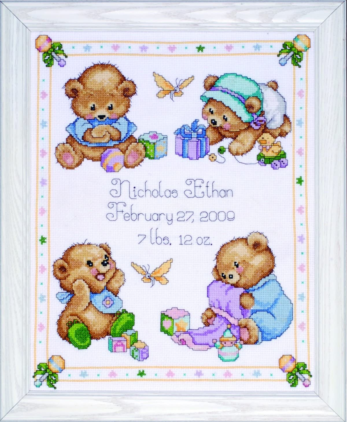 Baby birth cross stitch pattern Birth announcement Child personalized sampler brown bear Tiny sailor nursery decor Woodland animals