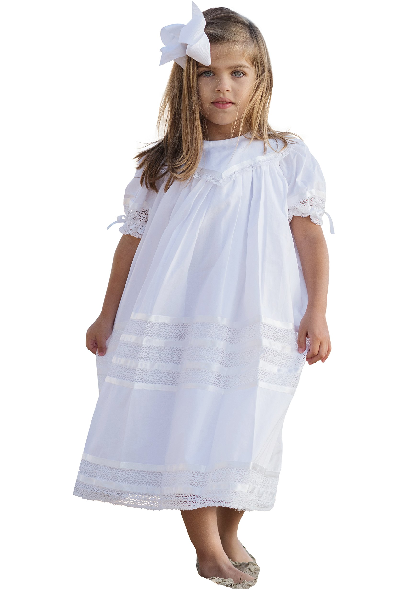Strasburg Children Girls Lace Flower Girl Dress Vintage Heirloom Portrait Baptism Dresses (10, White)