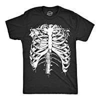 Crazy Dog T-Shirts Mens Splattered Rib Cage Tshirt Cool Skeleton Costume Halloween Tee for Guys