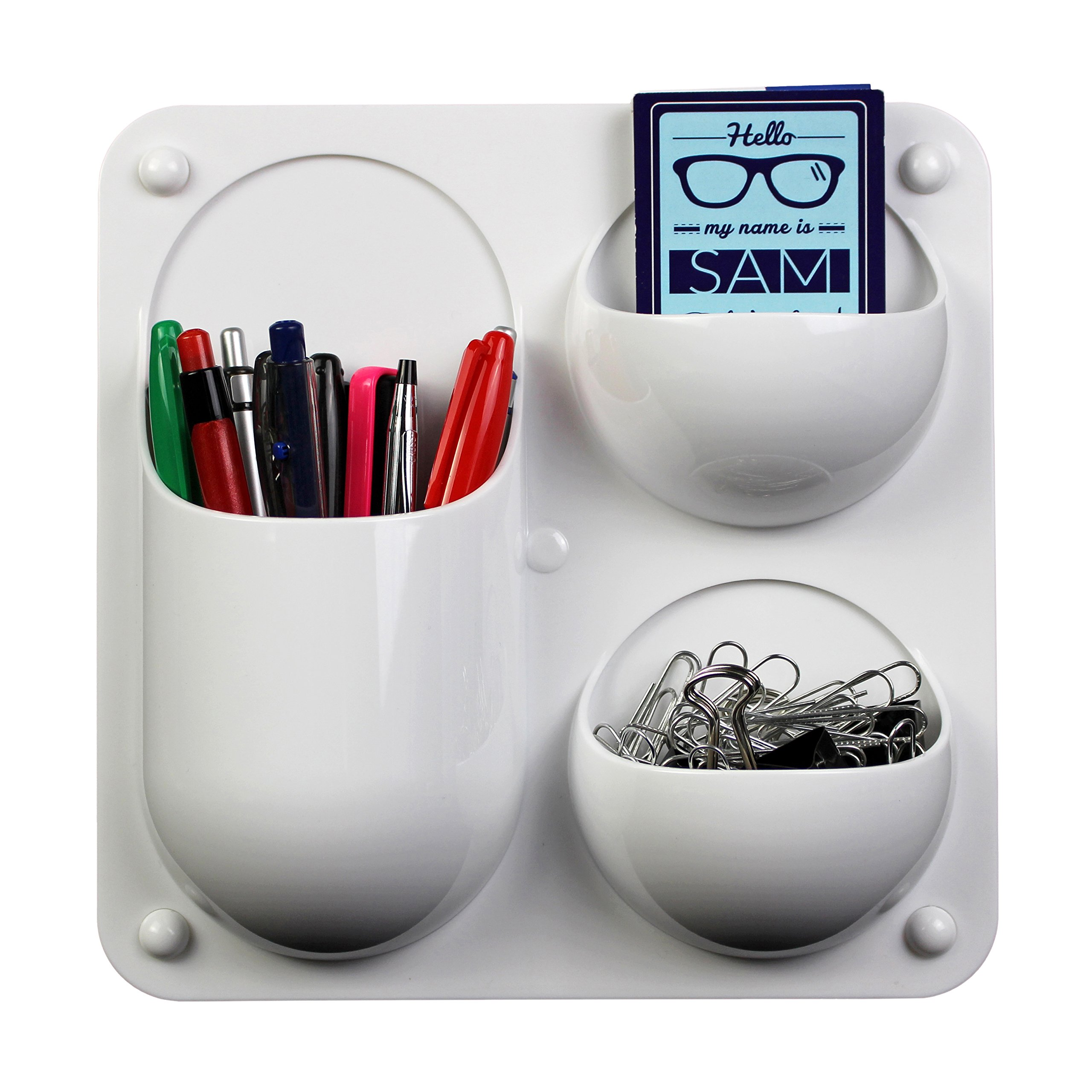Wall-Mounted Organizer Caddy with 3 Sections for Storing Pens, Pencils, Sticky Notes and Other Supplies for Offices, Homes, Classrooms and Dorms - White