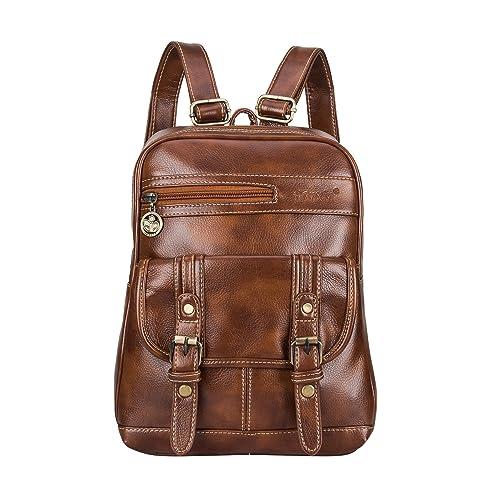 5a479518 Snug star - Bolso mochila de Piel para mujer Negro marrón: Amazon.es:  Zapatos y complementos