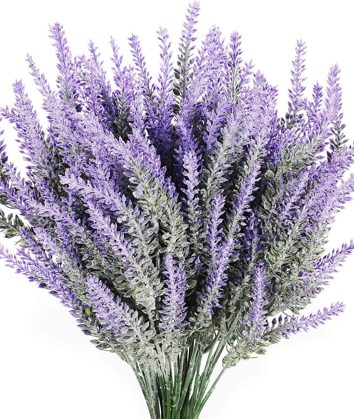 Luyue 8PCS Artificial Lavender Flowers Bouquet Fake Lavender Plant Bundle for Wedding Home Decor Garden Patio Decoration