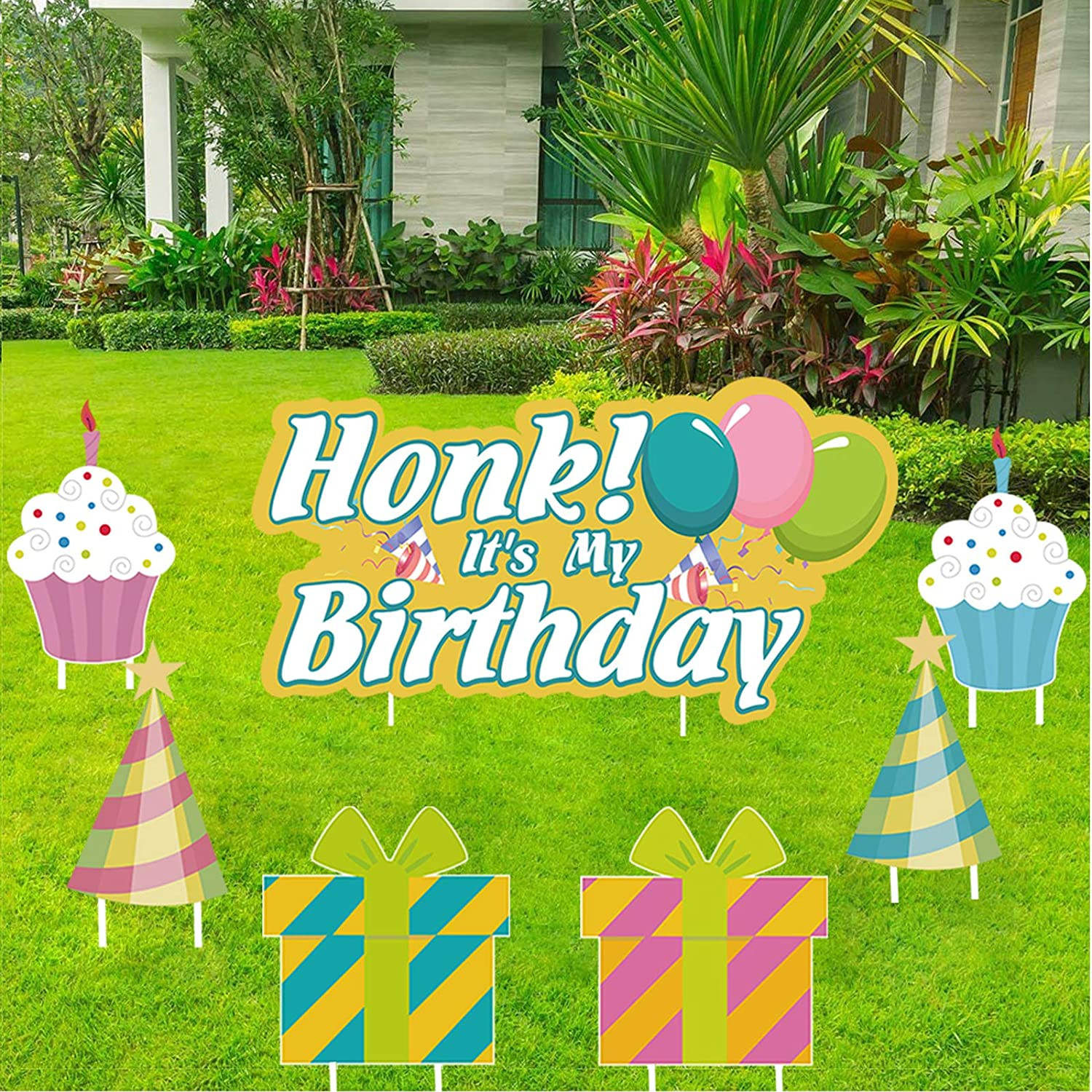 Choies Happy Birthday Lawn Sign Outdoor HONK It's My Birthday Sign Yard with Stake Outdoor Lawn Garden Decor Birthday Party Yard Signs