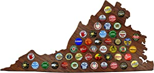 Virginia Beer Cap Map - VA Craft Beer Cap Holder, Gifts for Him (Dark Stain)