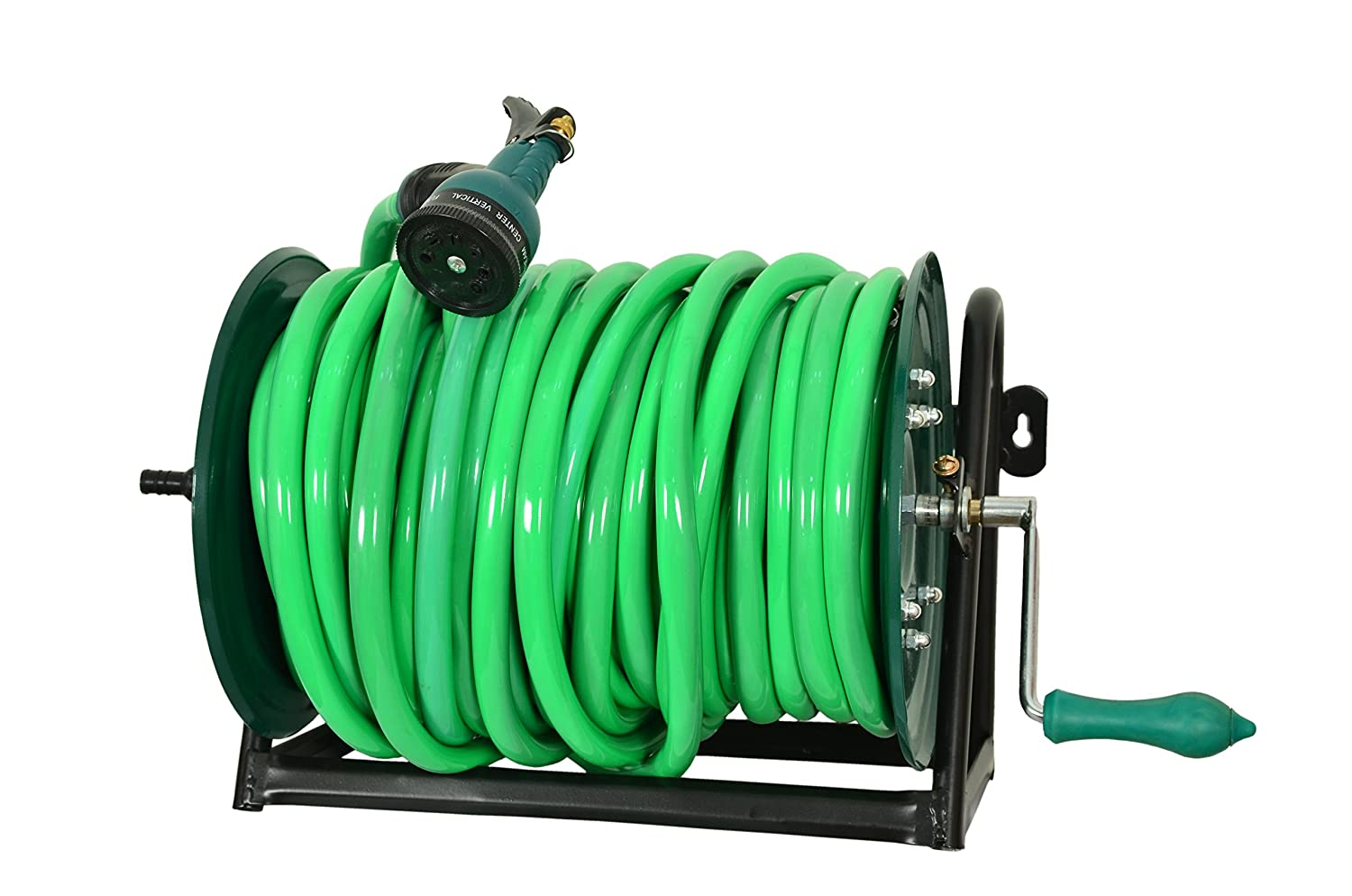 Bth Company Heavy Duty Hose Reel Wall Floor Mounted With Adjustable Arm Guide Garden Appliances Green Amazon In Garden Outdoors