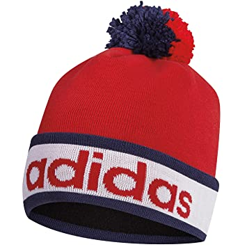 Adidas 2015 ClimaHeat Pom Pom Beanie Mens Golf Bobble Hat Red ... 3fb0caa3537