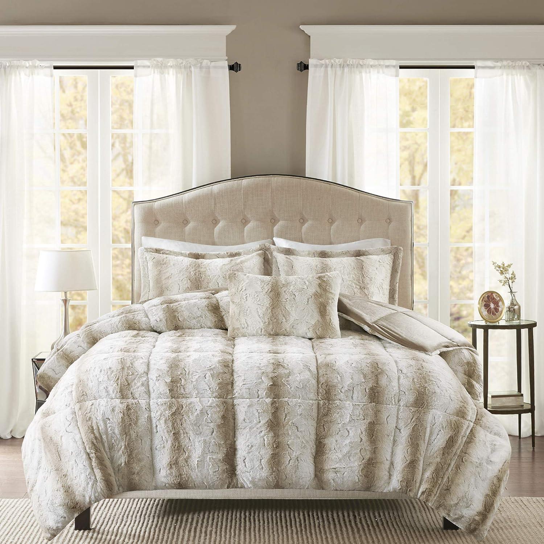 Madison Park Zuri Soft Plush Comforter Faux Fur Stripes Design, Faux Fur On The Reverse Modern All Season Bedding Set with Matching Sham, King, Sand
