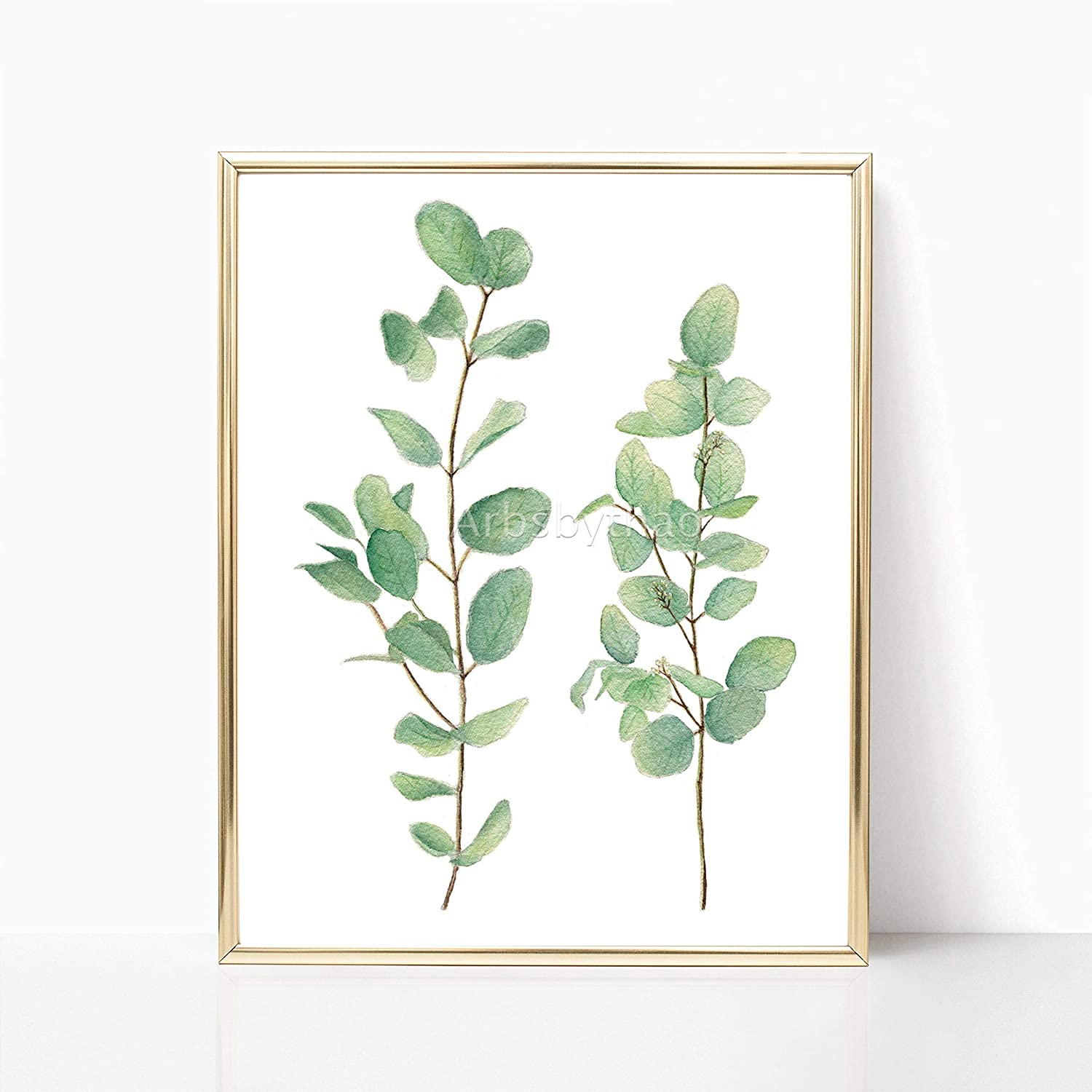 Silver Dollar Eucalyptus Leaves Print 8x10 or 11x14 Unframed Green Leaf Watercolor Painting Illustration Wall Decor Living Room Plant Decoration Art Decor