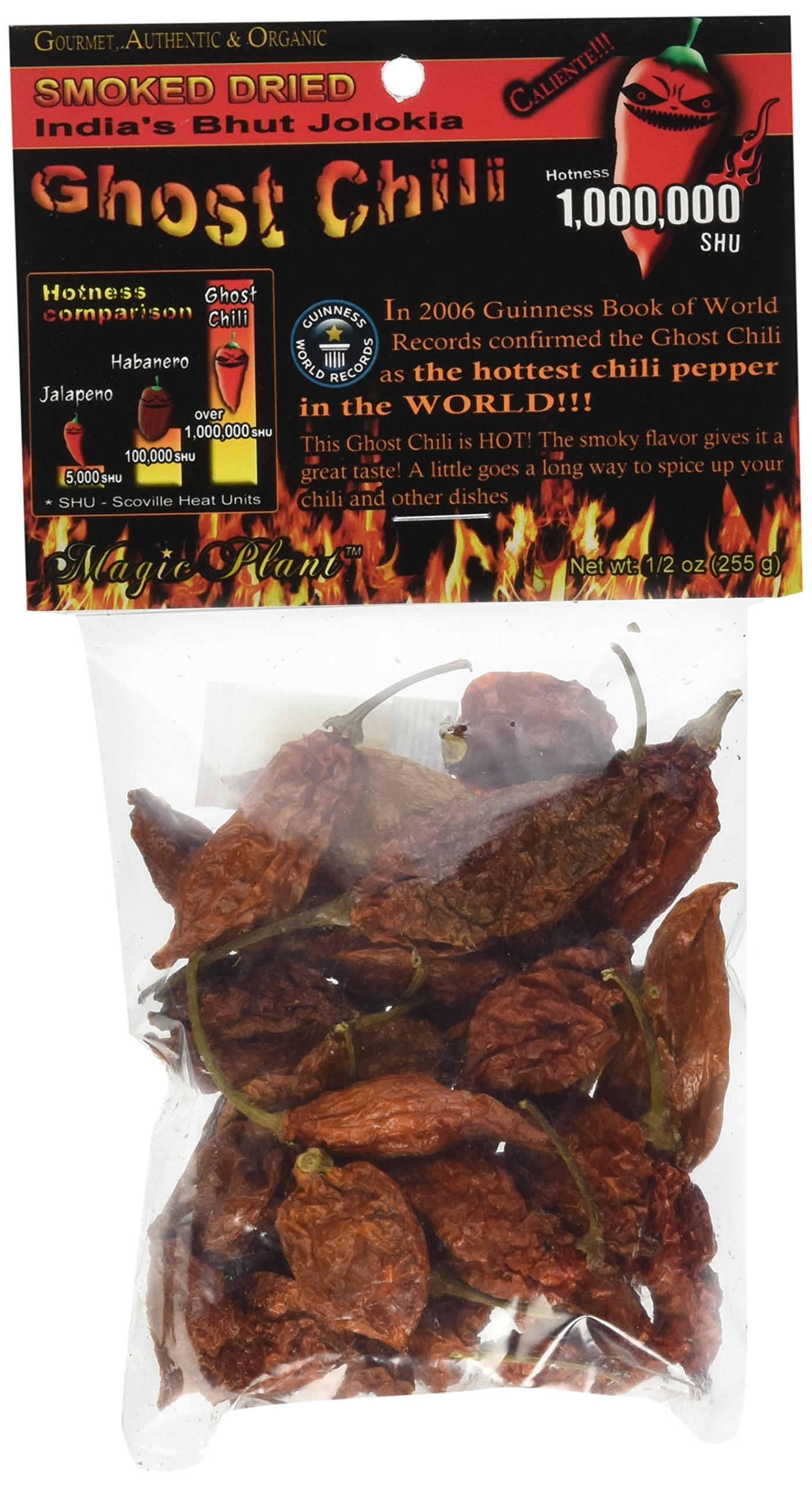Smoked and Dried Bhut Jolokia Ghost Chili Pepper Pods , .5 Ounce