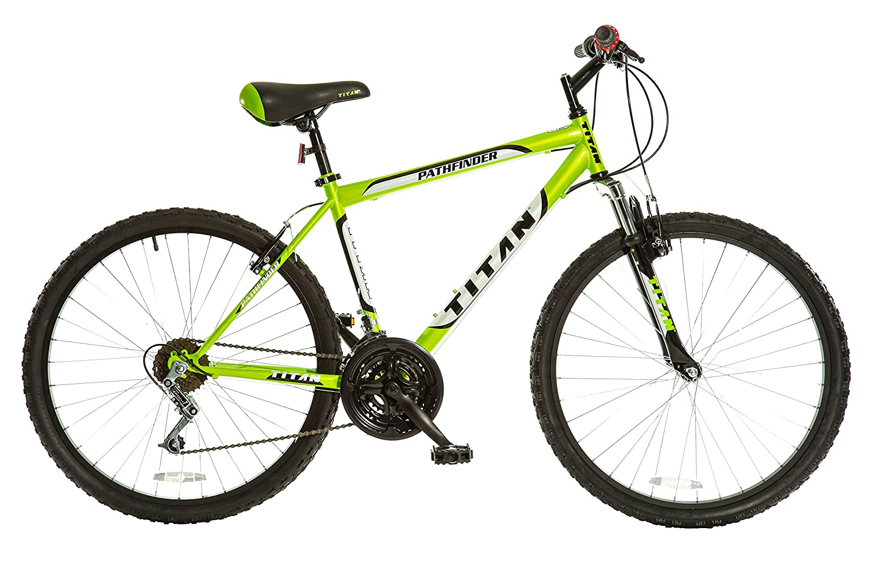 Titan パスファインダー メンズ 18速 オールテレイン マウンテンバイク フロントショックサスペンション付き B01L7JEXRS  Key Lime Green