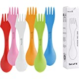 Hovome, Multi-functional Flatware Set 3 in 1 Knife Fork Spoon Spork Flatware Sets Random Color Set of 6