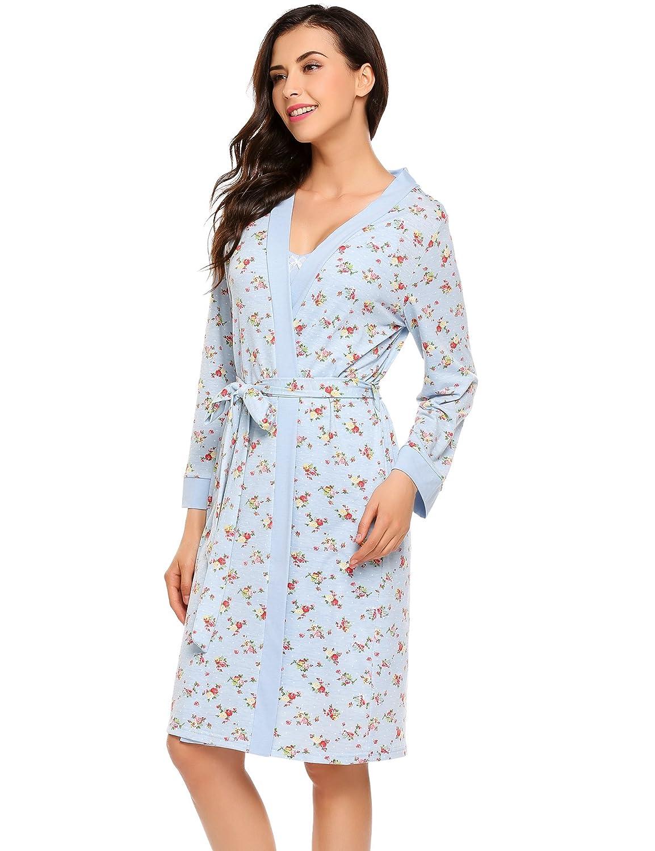 Ekouaer Damen Nachthemd Negliee mit Morgenmantel lange
