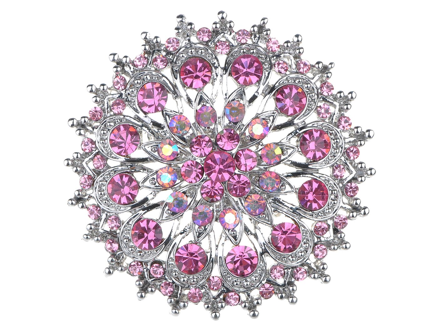 Alilang Pink Rose Rhinestone Crystal Royal Princess Crest Floral Wreath Bouquet Wedding Brooch Pin