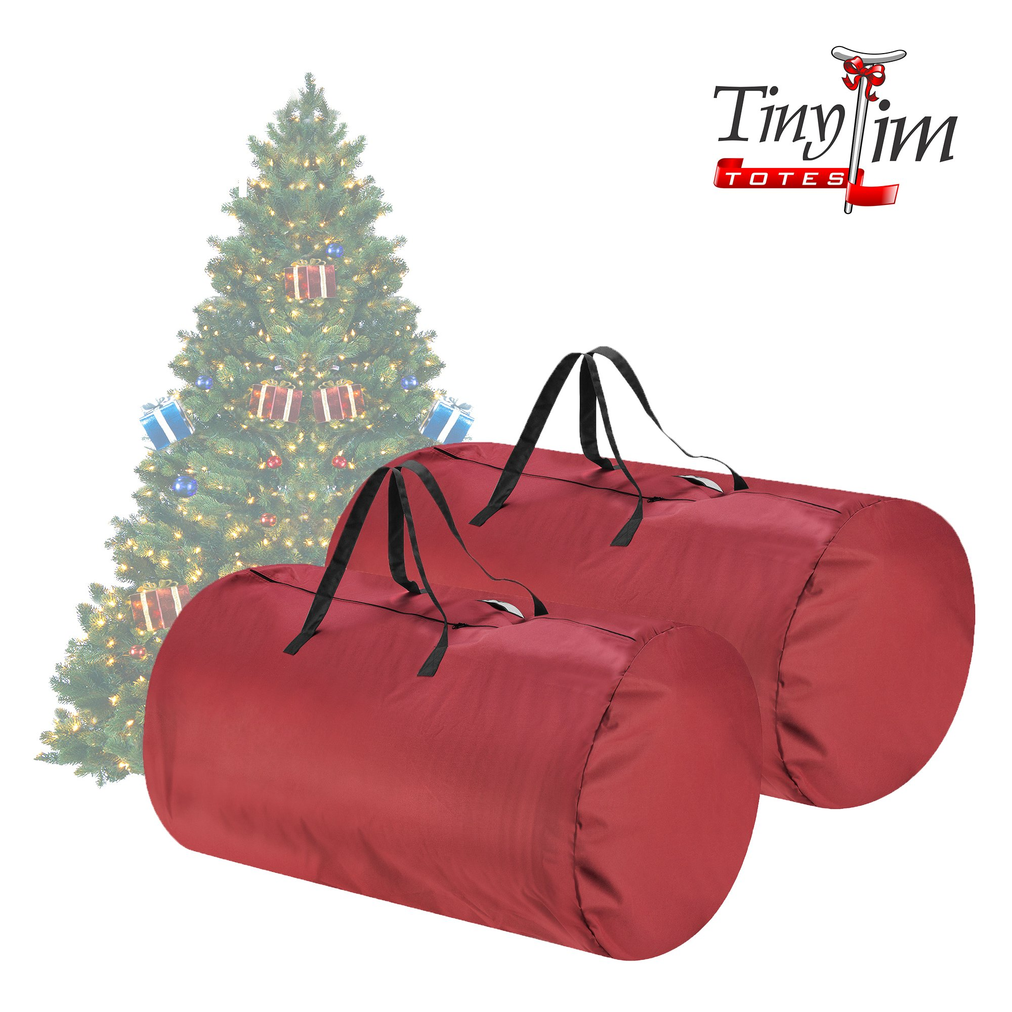 Tiny Tim Totes 83-DT5566 Premium 2 Canvas Christmas Storage Bags | Extra Large for 9 7.5 Foot Trees, 2-Pack, Red
