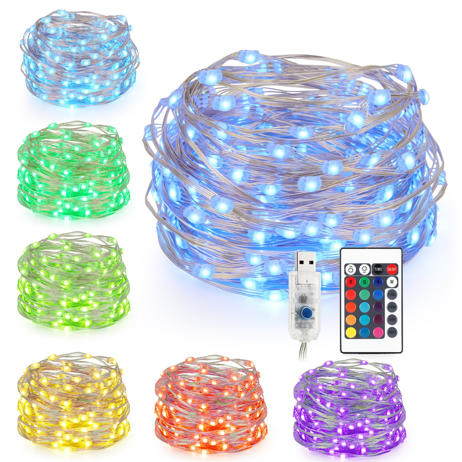 Kohree LED String Lights,USB Powered Multi Color Changing String Lights with Remote,100leds Indoor Decorative Silver Wire Lights for Bedroom,Patio,Outdoor Garden,Stroller,DecorTree.(33 ft 16 Colors)