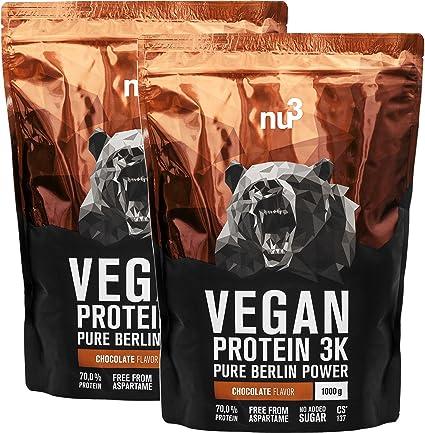 nu3 - Proteína vegana 3K - 2kg de fórmula - 70% de proteína a base de 3 componentes vegetales - Proteínas para el crecimiento de la masa muscular ...
