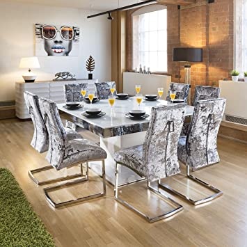 bbe29d5ac62f Avant Garde Large Square White Glass Gloss Dining Table + 8 Silver Velvet  Chairs: Amazon.co.uk: Kitchen & Home