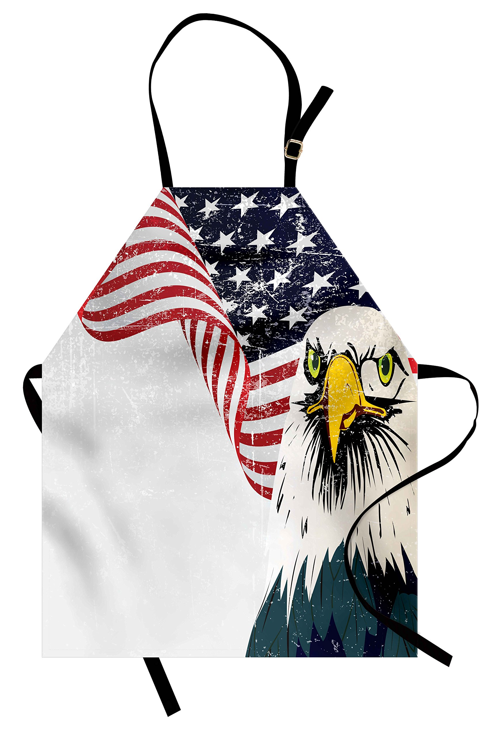 Ambesonne American Flag Apron, American Eagle with Grunge Effect 4th of July USA Country Independence Image, Unisex Kitchen Bib Apron with Adjustable Neck for Cooking Baking Gardening, Multicolor