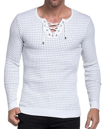5a88745689f8b BLZ Jeans - Pull Homme Blanc et Gris côtelé Moulant - Couleur  Blanc -  Taille
