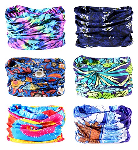 KINGREE 9PCS/&6PCS Outdoor Magic Scarf High Elastic Womens and Mens Headbands with UV Resistance Mask Headwear Headscarves