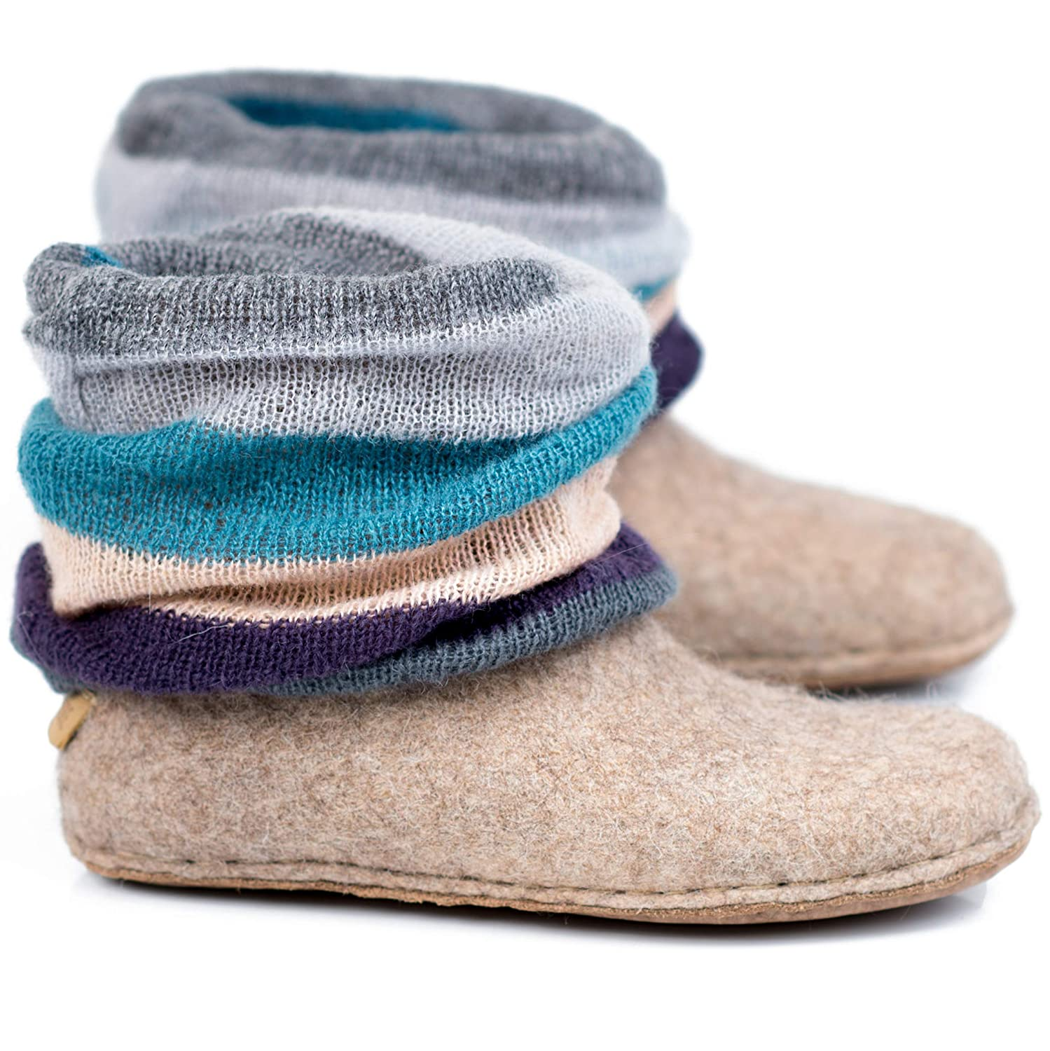 BureBure Wool Ankle Boots with Knitted Leg Warmers Handmade in Europe