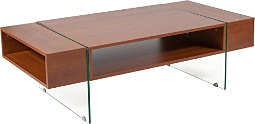 Flash Furniture Lafayette Place Cherry Wood Grain Finish Coffee Table with Glass Legs