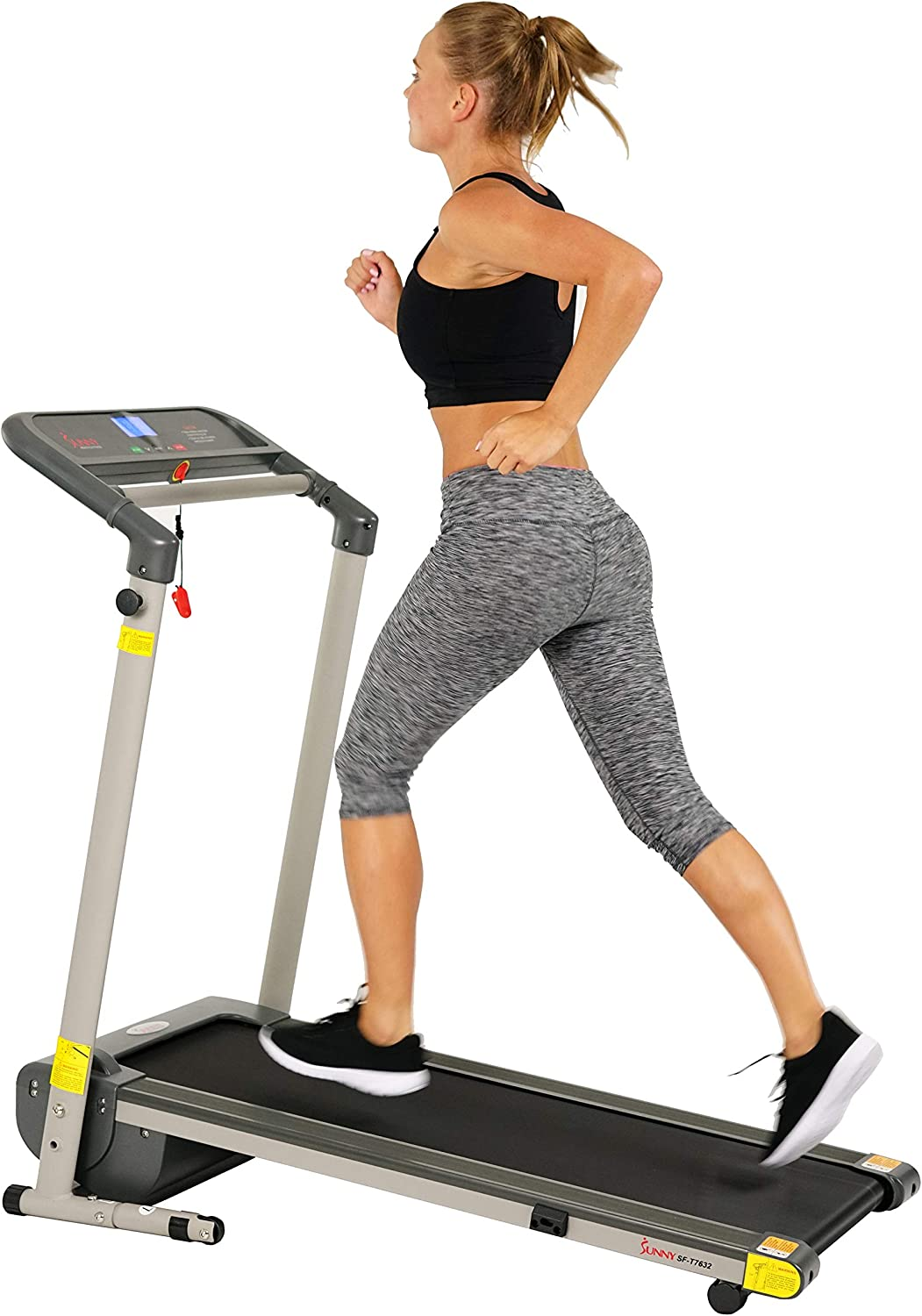 Sunny Health & Fitness Folding Compact Motorized Treadmill - LCD Display, Shock Absorption and 220 LB Max Weight - SF-T7632,Gray