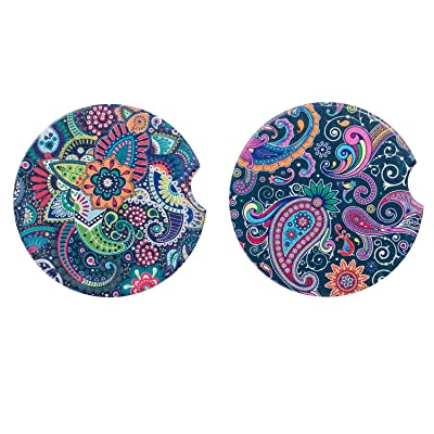 """Universal 2.56\"""" Car Coasters Absorbent for Cup Holders 2 Pack, Auto Ceramic Thirstystone Car Coasters, Mandala Drink Cup Holder for Car: Coasters [5Bkhe0107242]"""