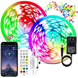 BIHRTC Led Strip Lights 32.8ft RGB Led Lights Strip 300leds 5050 Color Changing Flexible Led Tape Light with Remote Music Syn